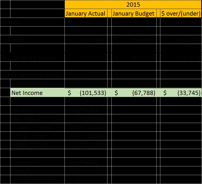Financial Snapshot: January 2015 Financial Snapshot