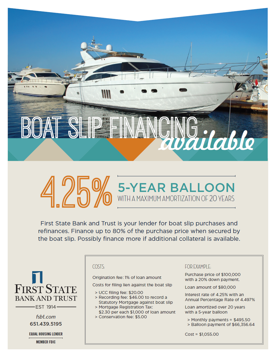 First State Bank and Trust Slip Financing Bayport Marina Association